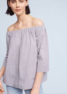 Striped Poplin Off-The-Shoulder Blouse