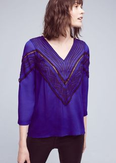 Anthropologie Stroke of Midnight Embroidered Blouse