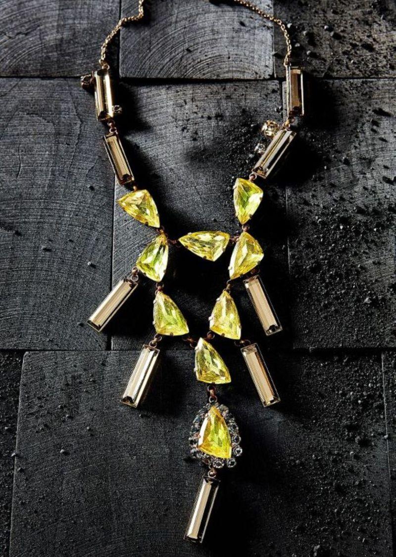 Anthropologie Sunshower Crystal Necklace