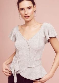 Anthropologie Terry Ruffled Peplum Top