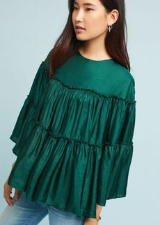 Anthropologie Tiered Silk Blouse