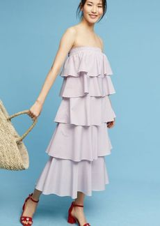 Anthropologie Tiered Strapless Midi Dress