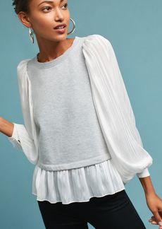Anthropologie Woven Flutter-Sleeve Sweatshirt