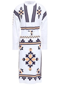 Antik Batik Woman Anika Belted Embroidered Cotton-poplin Dress White