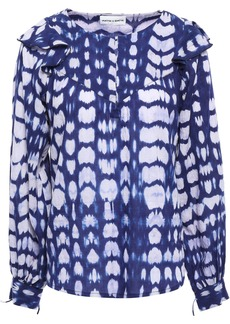 Antik Batik Woman Atlas Ruffle-trimmed Tie-dyed Cotton Blouse Indigo
