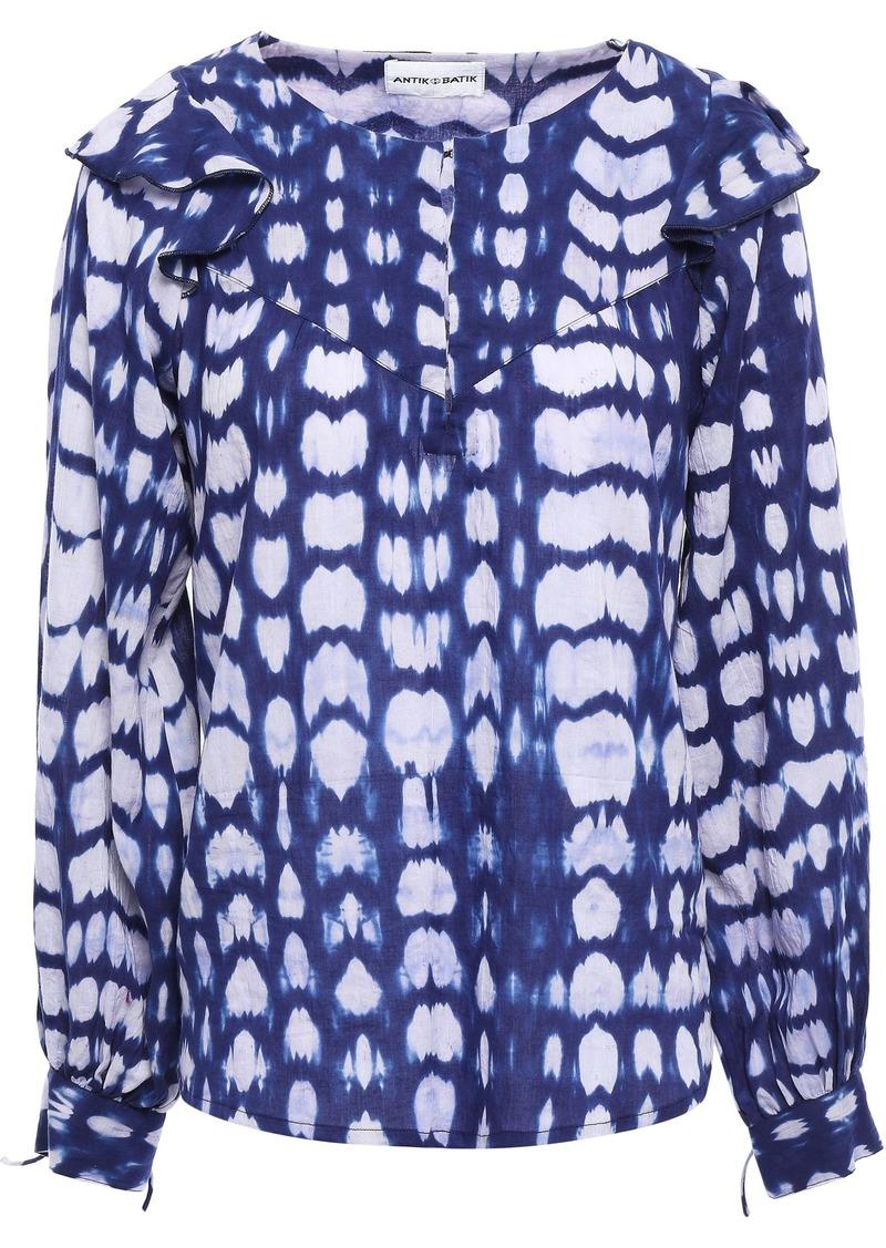 Antik Batik Woman Atlas Ruffle-trimmed Tie-dyed Cotton Blouse Indigo