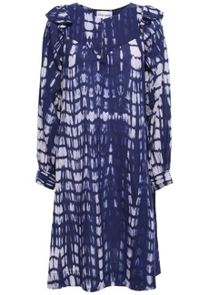 Antik Batik Woman Atlas Ruffle-trimmed Tie-dyed Cotton Dress Indigo