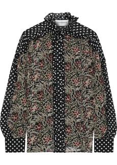 Antik Batik Woman Balyna Ruffle-trimmed Printed Silk-chiffon Shirt Black