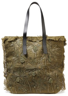 Antik Batik Woman Barry Large Leather-trimmed Embroidered Raffia And Jute Tote Army Green