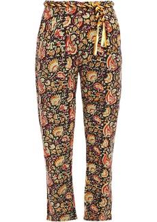 Antik Batik Woman Belted Floral-print Cotton-canvas Tapered Pants Black