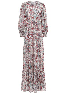 Antik Batik Woman Betsie Gathered Printed Cotton Maxi Dress Cream