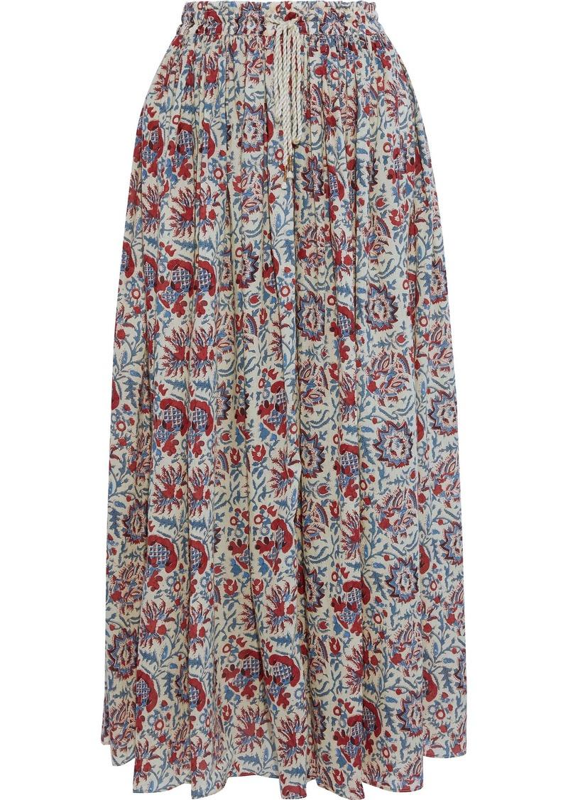 Antik Batik Woman Betsie Printed Cotton-voile Maxi Skirt Cream