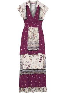 Antik Batik Woman Bowo Tiered Floral-print Crepe And Metallic Gauze Maxi Dress Plum