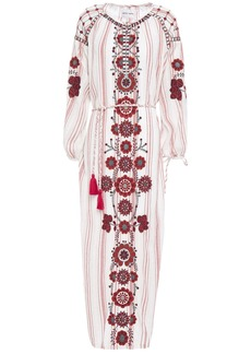 Antik Batik Woman Camilla Embroidered Striped Cotton-gauze Midi Dress Cream
