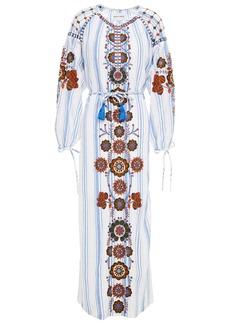 Antik Batik Woman Camilla Embroidered Striped Cotton-gauze Midi Dress White