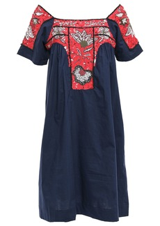 Antik Batik Woman Chacha Embellished Cotton-poplin Dress Navy