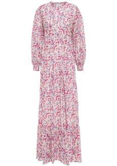 Antik Batik Woman Cherie Gathered Printed Cotton Maxi Dress Beige