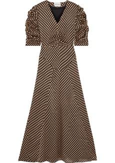 Antik Batik Woman Doty Ruched Fil Coupé Chiffon Maxi Dress Gold