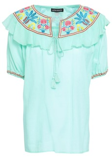 Antik Batik Woman Embroidered Cotton-gauze Top Mint
