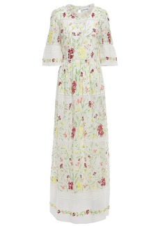 Antik Batik Woman Fanya Embroidered Cotton And Point D'esprit Maxi Dress Ivory