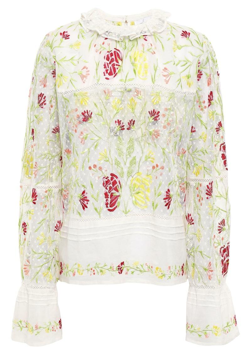 Antik Batik Woman Fanya Embroidered Cotton-gauze And Point D'espirit Blouse Ivory