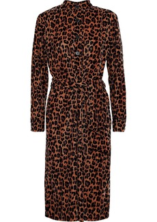 Antik Batik Woman Gart Leopard-print Velvet Shirt Dress Animal Print