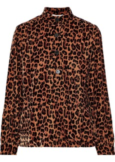 Antik Batik Woman Gart Satin-trimmed Leopard-print Velvet Shirt Animal Print