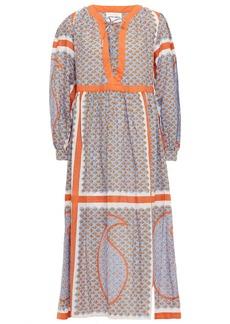 Antik Batik Woman Gisele Lace-up Printed Cotton Midi Dress Light Blue