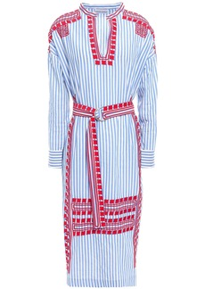 Antik Batik Woman Jackie Belted Embroidered Cotton-poplin Midi Dress Light Blue