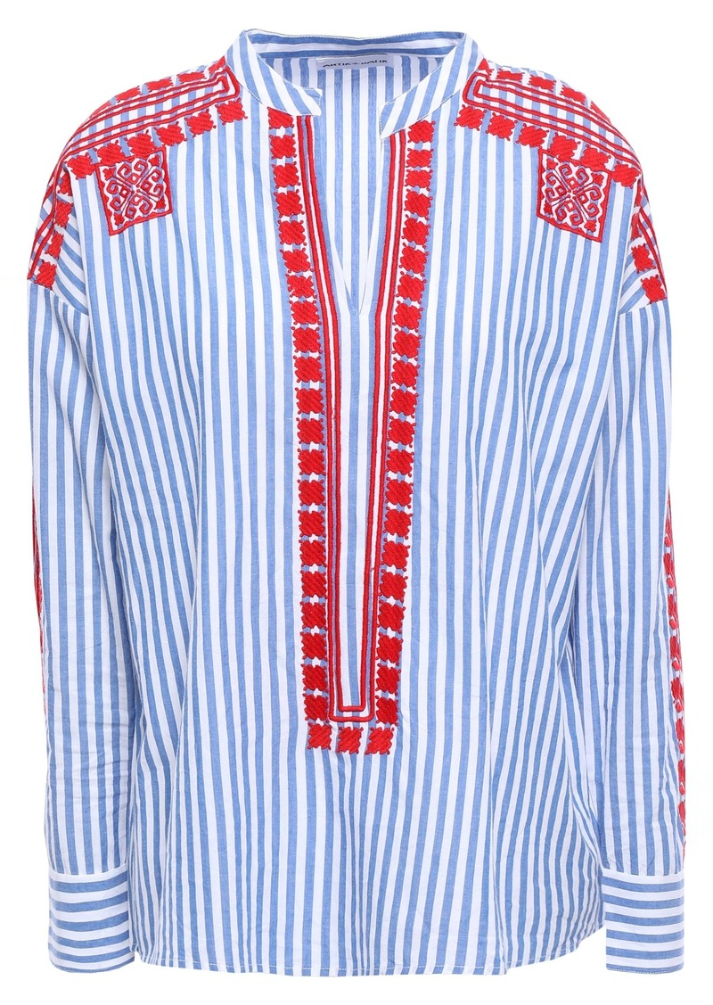 Antik Batik Woman Jackie Embroidered Striped Cotton-poplin Blouse Light Blue