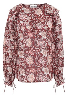 Antik Batik Woman Jody Ruffle-trimmed Floral-print Cotton-voile Blouse Burgundy