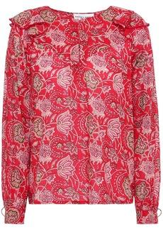 Antik Batik Woman Jody Ruffle-trimmed Floral-print Cotton-voile Blouse Red