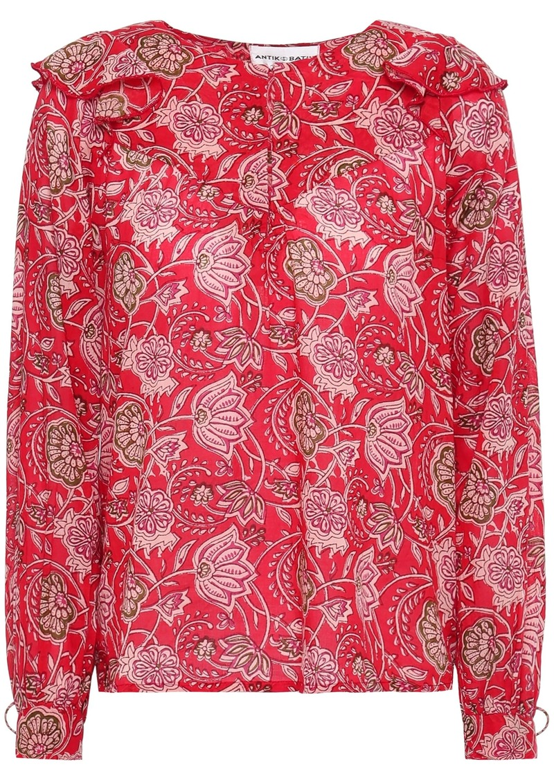 Antik Batik Woman Jody Ruffle-trimmed Printed Cotton-voile Blouse Red