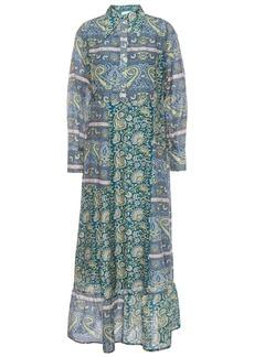 Antik Batik Woman Kheti Printed Cotton And Silk-blend Voile Midi Dress Blue