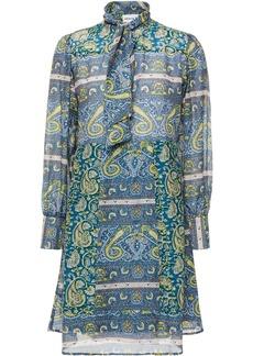Antik Batik Woman Kheti Tie-neck Printed Cotton And Silk-blend Voile Mini Dress Slate Blue
