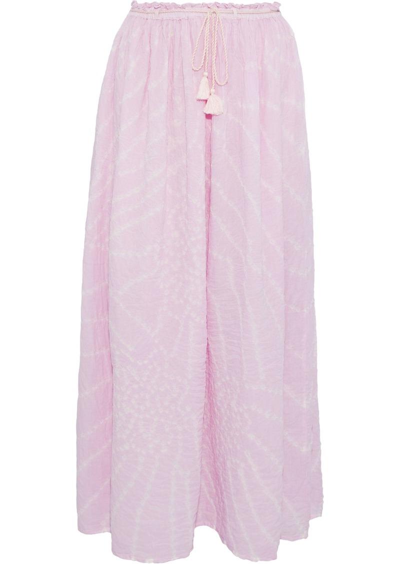 Antik Batik Woman Khula Tie-dyed Crinkled Cotton-gauze Maxi Skirt Bubblegum