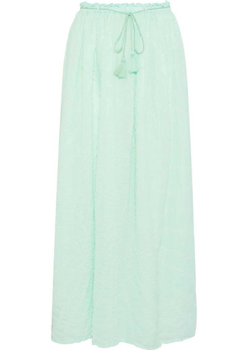 Antik Batik Woman Khula Tie-dyed Crinkled Cotton-gauze Maxi Skirt Mint