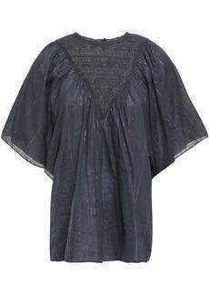 Antik Batik Woman Lace-paneled Metallic Pinstriped Cotton-blend Blouse Charcoal