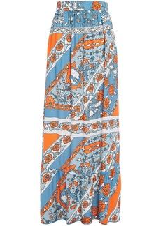Antik Batik Woman Léandra Gathered Printed Twill Maxi Skirt Light Blue