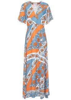 Antik Batik Woman Leandra Floral-print Jacquard Maxi Dress Orange