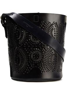 Antik Batik Woman Ligo Laser-cut Leather Bucket Bag Midnight Blue