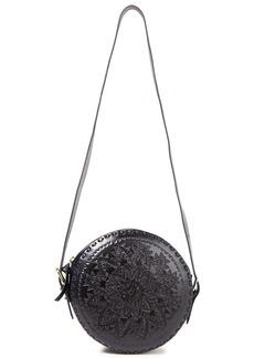 Antik Batik Woman Ligo Laser-cut Leather Shoulder Bag Midnight Blue