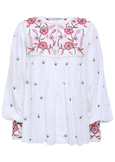 Antik Batik Woman Lilou Embellished Cotton-voile Blouse White