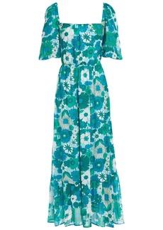 Antik Batik Woman Lorette Cutout Floral-print Cotton Maxi Dress Light Blue