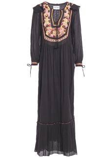 Antik Batik Woman Lova Crochet-trimmed Gathered Cotton-gauze Maxi Dress Black