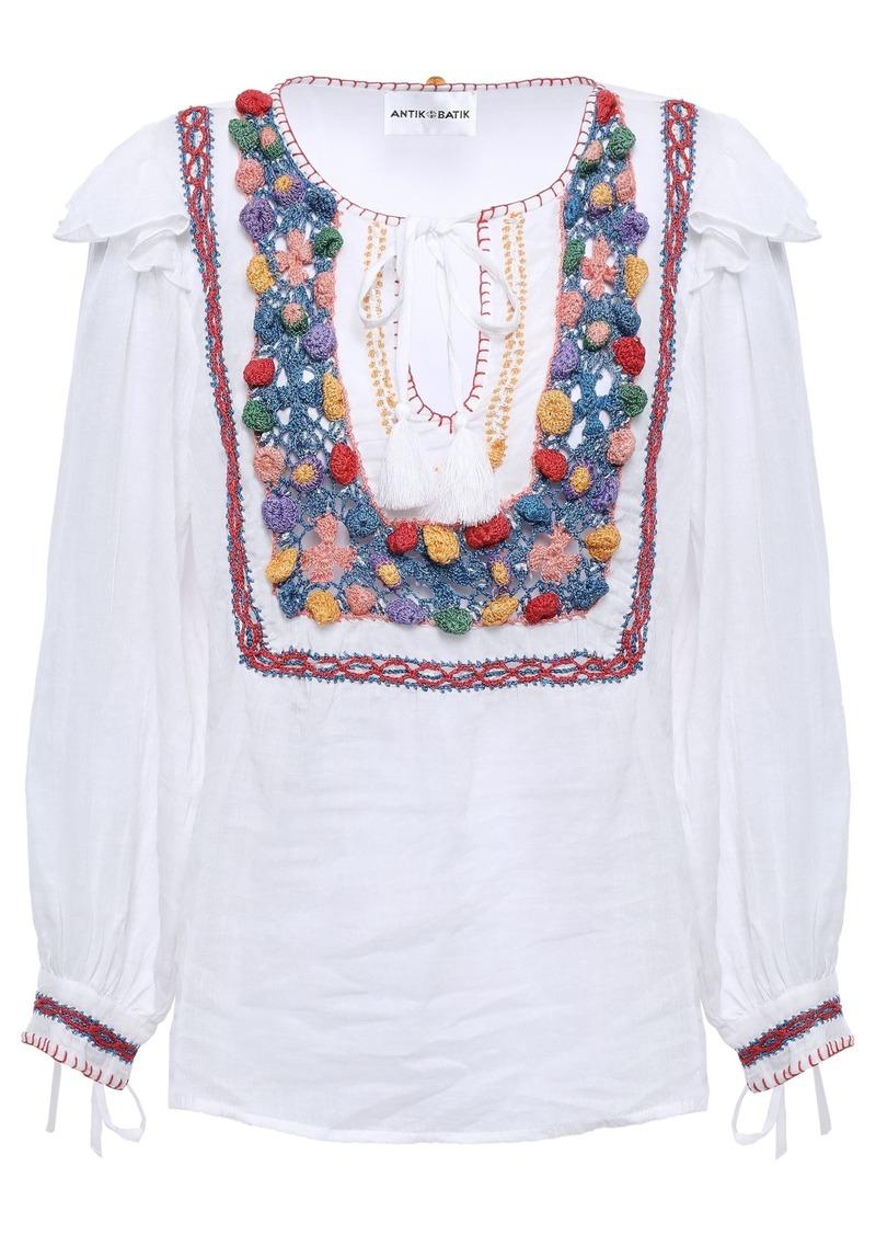 Antik Batik Woman Lovi Crochet-paneled Cotton-gauze Blouse White
