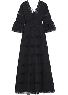 Antik Batik Woman Mary Pintucked Lace-paneled Cotton Maxi Dress Black
