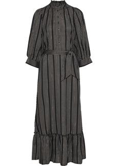 Antik Batik Woman Meeti Belted Metallic Striped Georgette Maxi Dress Black