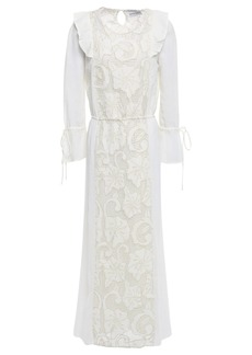 Antik Batik Woman Melly Paneled Guipure Lace And Cotton-gauze Maxi Dress White