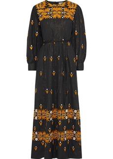 Antik Batik Woman Mexi Pleated Metallic Embroidered Cotton Maxi Dress Black